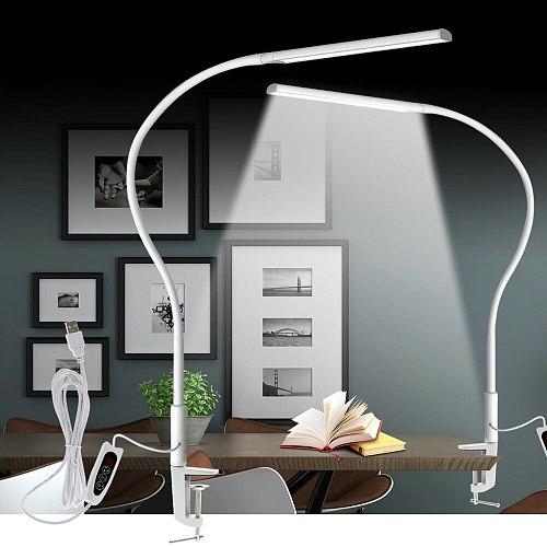 Long Arm Table Lamp Clip Office Desk Lamp 64PCS LED USB Light 3 Color x5 Dimable Level Eye Protection Adjustable Study Light