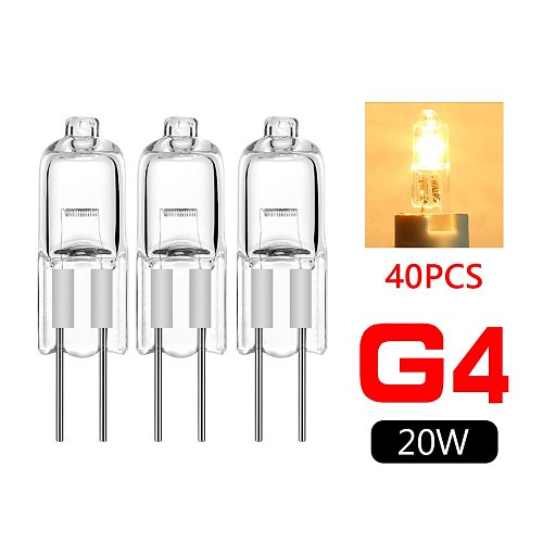 40pcs Mini G4 Energy Saving Tungsten Halogen JC Type Light Bulb Lamp 12V 20W G4 Spotlight For Crystal Chandelier Halogen Lamp