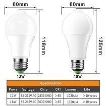 PIR Motion Sensor Lamp E27 Led Bulb 220V 110V 12W 18W B22 Led Light Auto Smart Infrared Body Lamp With Motion Sensor Lights
