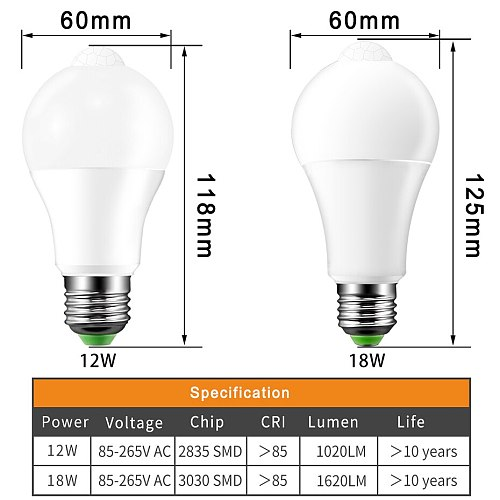 PIR Motion Sensor Lamp E27 Led Bulb 220V 110V 12W 18W B22 Led Light Auto Smart Infrared Body Lamp With Motion Sensor Lights