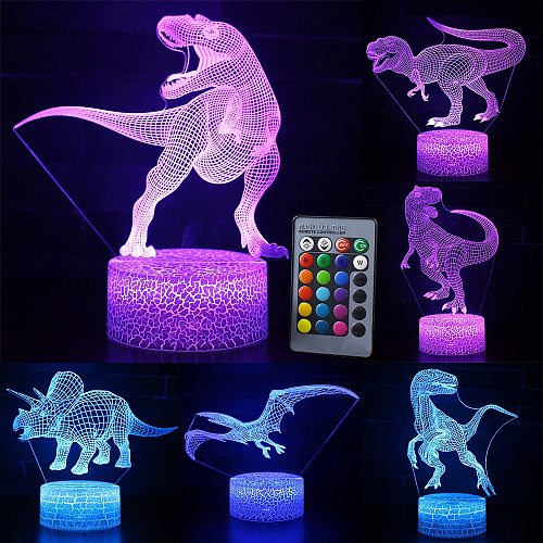 3D LED Night Light Lamp Dinosaur Series 16Color 3D Night light  Remote Control Table Lamps Toys Gift For kid Home Decoration D23