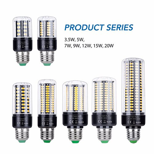 Led E14 Corn Bulb E27 Led Lamp 220V SMD 5736 Smart IC Light Candle Bulb 110V Lampada Led 3.5W 5W 7W 9W 12W 15W 20W No Flicker