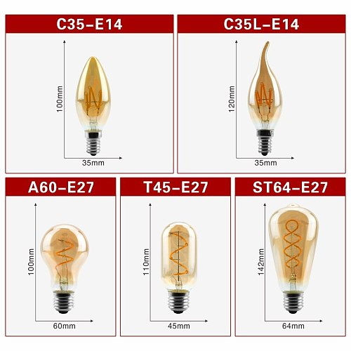 E14 E27 Retro LED Spiral Filament Light Bulb 4W Warm Yellow 220V C35 A60 T45 ST64 T185 T225 G80 G95 G125 Vintage Edison Lamp