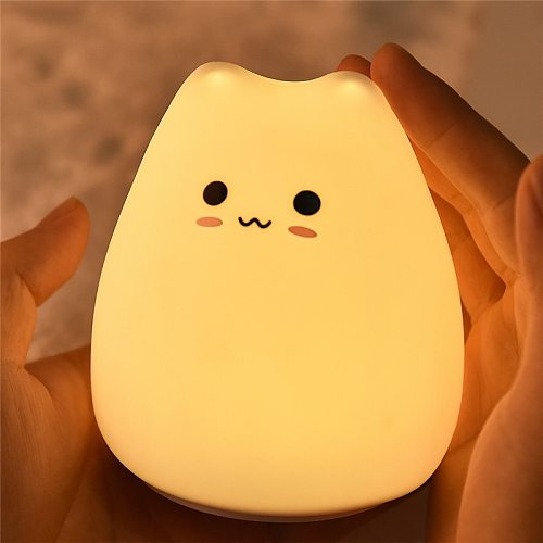 LED Cute Cat Night Light 7 Colorful Battery Silicone Soft Kid Bedside decorate light Baby Nursery Cartoon Lamp for Children Gift