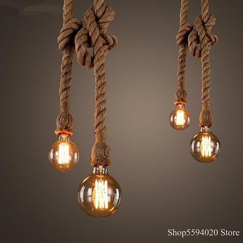 Retro Wire Hemp Rope Pendant Lights Bar DIY Creative Led Hemp Rope Pendant Lamp Vintage Loft Industrial Kitchen Lighting Fixture
