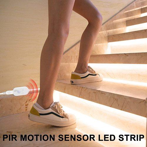 5V PIR LED Closet Light Tape Wireless Motion Sensor Lamp Kitchen Cabinet Light Lamp LED Strip Waterproof USB LED Lighting Ribbon