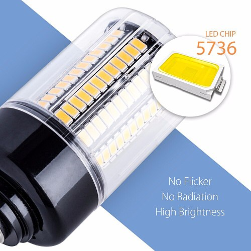 E14 Corn Bulb E27 LED Lamps 220V B22 High Power 28 40 72 108 132 156 189leds Lights SMD 5736 Lampada Led 110V No Flicker 85-265V
