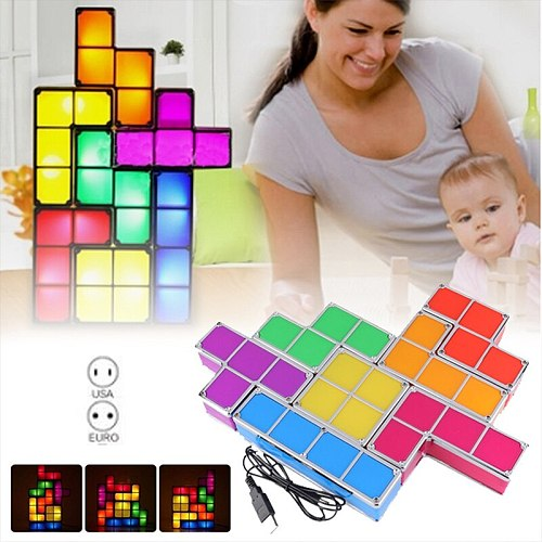 EU US Plug Night Light Tetriy Block DIY Decorate Constructible LED Light Energy Saving Colorful Atmosphere Lamp  Night Lamp