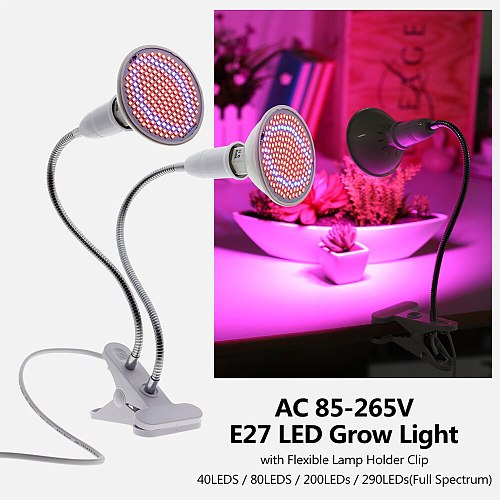 LED Grow Light Full Spectrum with E27 Lamp Holder Clip-on Phyto Lamps 72LEDs 200LEDs 290LEDs for Indoor Plants Flowers Growth