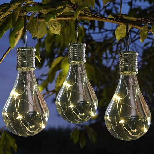 Creative waterproof solar rotating outdoor garden camping chandelier LED bulb transparent copper lamp chandelier free shipping
