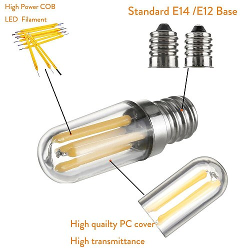 Mini E14 E12 LED Fridge Freezer Filament Light COB Dimmable Bulbs 1W 2W 4W Lamp Warm / Cold White Lamps Lighting