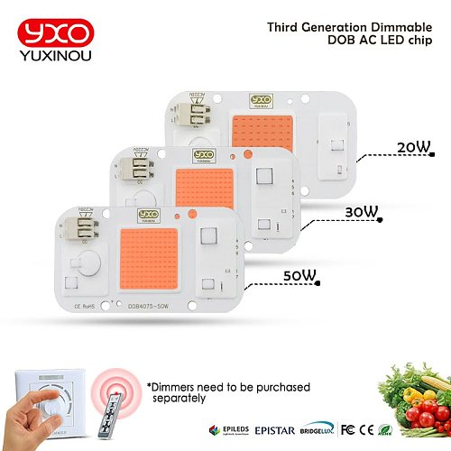 1pcs Hydroponice DOB AC LED COB Chip For Grow Plant Light Full Spectrum AC220V 20W 30W 50W For Indoor Plant Seedling Grow Flower