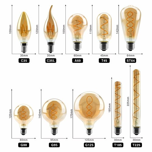 Retro Vintage Lamps 4W 2200K Spiral Light LED Filament Bulb A60 T45 ST64 G80 G95 G125 Decorative Lighting Dimmable Edison Lamp