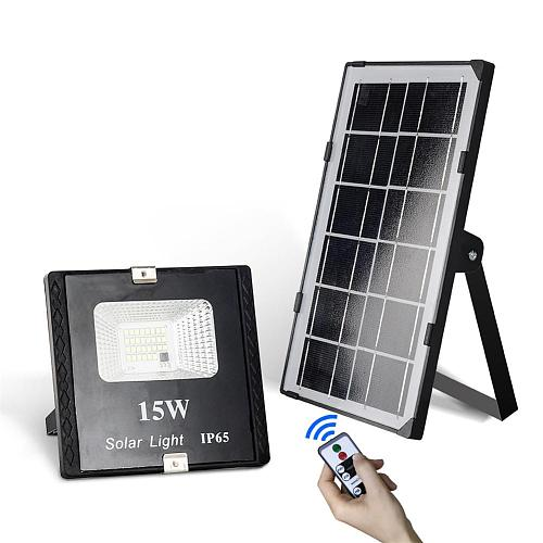 15W Solar LED Flood Light Remote Control Spotlight IP65 Waterproof Street Light Dimmable Outdoor Garden Lamp Timer Function