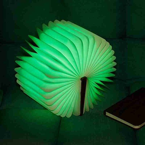 New Pu Wood Grain Book Light Creative Gift Flip Page Folding Rechargeable Led Book Light Custom Wooden Book Lamp Night Light