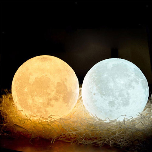 Moon Light Multicolor Home Decor Desk Lamp 3D Print Moon Lamp Brightness Battery 11cm Perfect Gift Earth Creative Personality