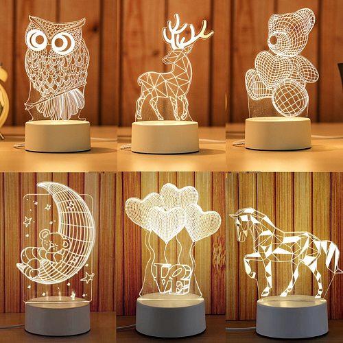 Cartoon 3D Novelty Light LED Lights Kids Children Bedroom Lamp Soft Light Birthday Gift Night Lamp 2020 Best-selling Novelty
