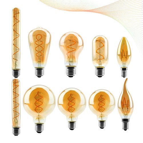 LED Filament Bulb C35 T45 ST64 G80 G95 G125 Spiral Light 4W 2200K Retro Vintage Lamps Decorative Lighting Dimmable Edison Lamp