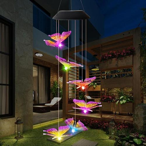 6LED Solar Power Changeable Light IP65 Waterproof Colorful Butterfly Wind Chime Lamp for Home Outdoor Garden Yard Decoration