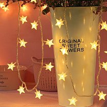 10/20 LED Star Light String Twinkle Garlands Battery Powered  Lamp Holiday New Year Christmas Decorations for Home Fairy Lights