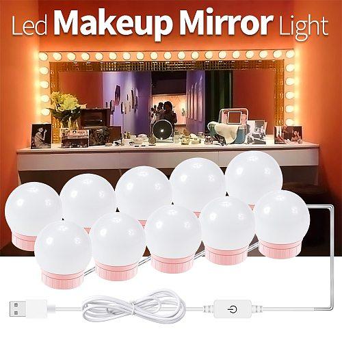 USB LED Vanity Mirror Light 12V Dressing Table Light Bulb Hollywood Makeup LED Lamp Stepless Dimmable LED Wall Lamp 2 6 10 14PCS