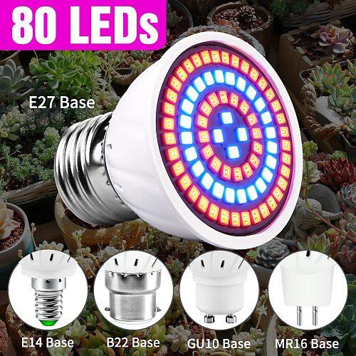 80leds 220V LED Grow Lamp Full Spectrum LED Plant Growth Lamp Indoor Lighting Grow Lights Plants E27 Hydroponic System Grow Box