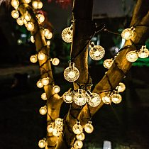 NEW 20/50/100 LED Crystal ball 5M/7M/12M Luz LED solar Garden Natal Decor lamp led string fairy lights 8-mode solar string light