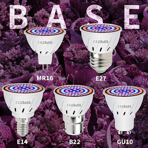 E27 220V LED Grow Light GU10 Fitolamp E14 LED Lamp For Plants 48 60LEDs Full Spectrum MR16 Phyto Lamp GU5.3 Seedling Plant Light