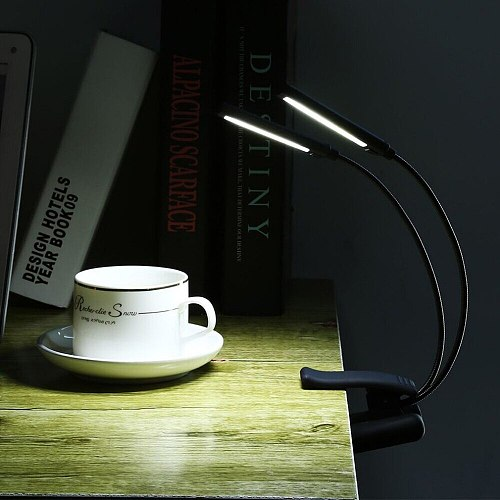 6W LED USB Dimmable Clip On Reading Light for Laptop Notebook Piano Bed Headboard Desk Portable Night Light