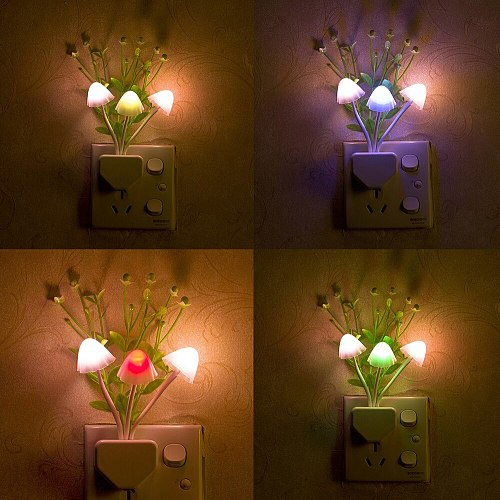 Night Light Romantic Colorful Sensor LED Mushroom Night Light Wall Lamp Home Decor Home Garden Bedroom Decoration светильник X1