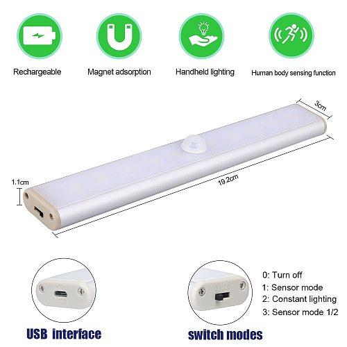 24/40/60 Cabinet Light Bedside Lamp LED Closet Light PIR Motion Sensor USB Charge wardrobe light For Stairs Kitchen lamparas