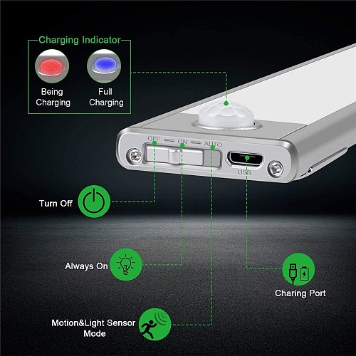 Ultra-thin 23/40/60CM PIR Motion Sensor LED Under Cabinet Light USB Rechargeable Wardrobe Cupboard Wall lamp Closet night light