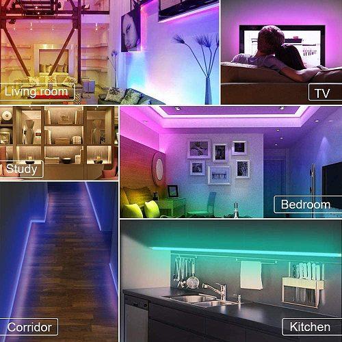 15M LED RGB Lamps 5M 10M Kitchen Cabinet LED Lights For Home Colset Decoration Lighting Waterproof 5050 2835 12V Strip Light RGB