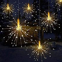 New Outdoor LED Solar Fireworks Lights200 LEDs Waterproof Flash String Light For Garden Patio Christmas Holiday Decoration Light