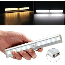 10 LEDs PIR LED Motion Sensor Light Cupboard Wardrobe Bed Lamp LED Under Cabinet Night Light For Closet Stairs Kitchen