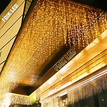 hristmas lights outdoor decoration 5 meter droop 0.4-0.6m led curtain icicle string lights new year wedding party garland light