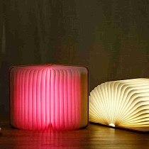New Pu Wood Grain Book Light Creative Gift Flip Page Folding Rechargeable Led Book Light Custom Wooden Book Lamp Night Light