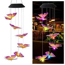 6LED Solar Mobile Light IP65 Colorful Butterfly Intelligent Optical Control Moisture Proof Wind Chime Garden Decoration