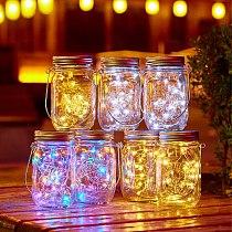 6 Pack Solar Mason Jar Light With Handles, 10 Led String Fairy Firefly Lights Lids Insert ForPatio,Lawn,Garden Decor-No Jars