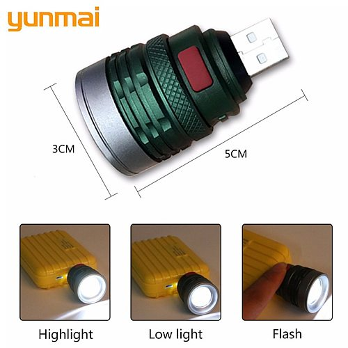 NEW USB Handy Powerful LED Flashlight Portable Mini Zoomable 3 Modes Pocket Torch Lamp Lanterna Lighitng For Hunting Camping