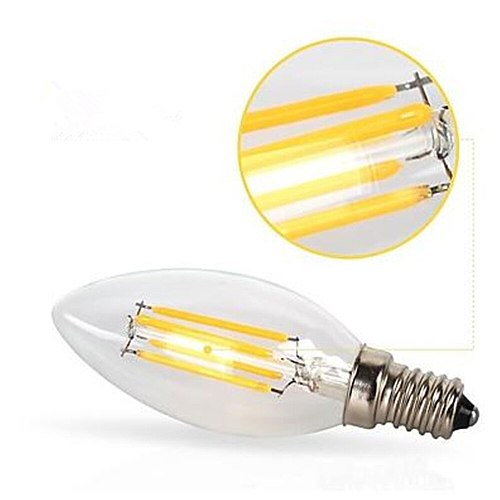10pcs E14 LED Bulb  AC220/240V 2W 4W 6W Filament Candle Light C35 Edison Bulb Retro Antique Vintage Style Cold White Warm White