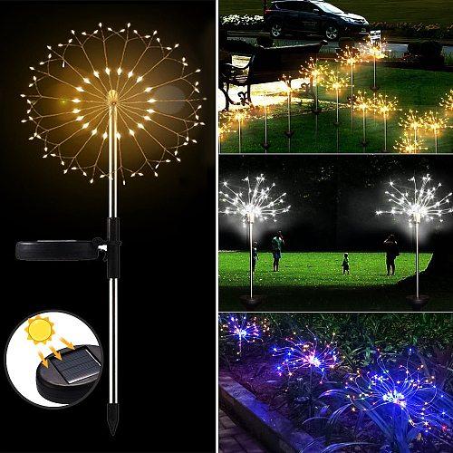 Outdoor Solar Lamp Powered Sunlight Grass  Fireworks light 90/120/150 LED Landscape Lamp Holiday Light  for Garden Decoration