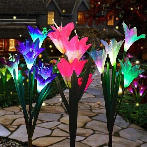 Solar Lights For Garden Decoration LED Solar Lamp Colorful Lily Flowers Christmas Outdoor Lighting Waterproof Solar Light