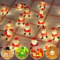 QIFU Santa Claus Christmas LED String Lights Garland Decorative Fairy Lights Christmas Deocr for Home Holiday Lighting Navidad