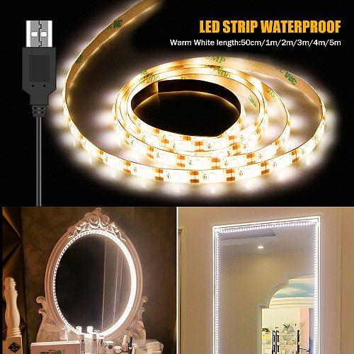 1M-5M espejos luces Makeup Vanity Mirror Lamp USB Cable Powered Dressing Table Lights Decor Bathroom Waterproof Led Beauty Light