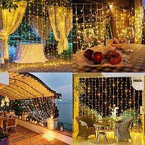 3*3m 300leds Led Curtain String Light Led Christmas Garland Party Patio Window Decor Fairy Lights Xmas Wedding Lights EU 220V