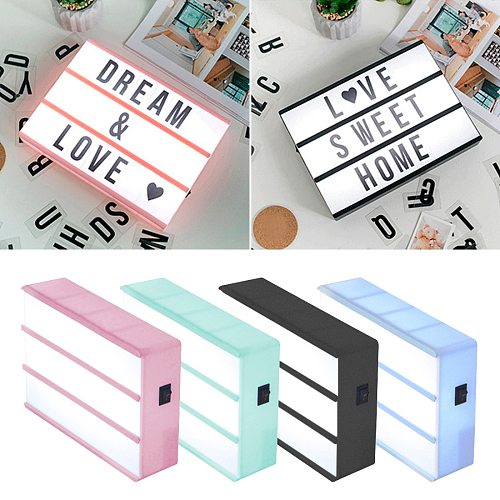 A6 Size LED Combination Night Light Box Lamp DIY Black Letters Cards AA Battery Cinema Lightbox