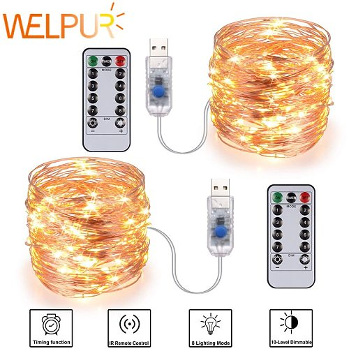 Festive outdoor copper string light 10m 20m remote control timing battery USB garden light for party Christmas decoration