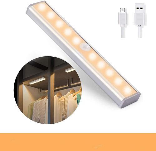 10 LED Wireless Motion Sensor Cabinet Light Magnetic Stick-on USB Rechargeable Sensor Lights for Kitchen Bedroom Closet Bathroom