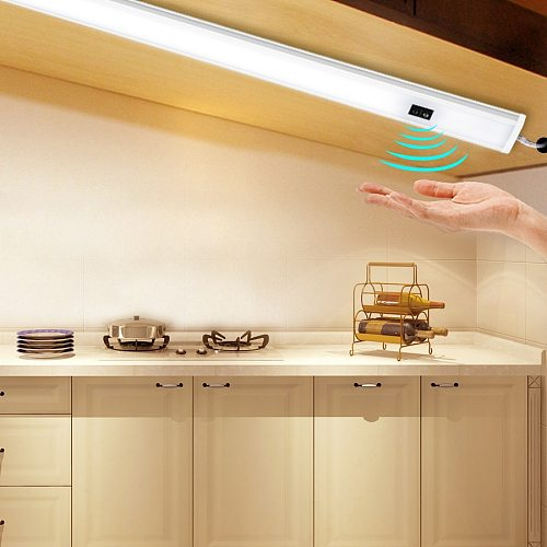 LED Under Cabinet Lights Hand Sweep Sensor 30 40 50 cm DC 12V High Lumen Diode LED Night Lamp For Kitchen Bedroom Closet